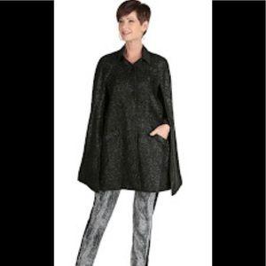 Nick Verreos Black Lurex Tweed Sparkle Cape XL